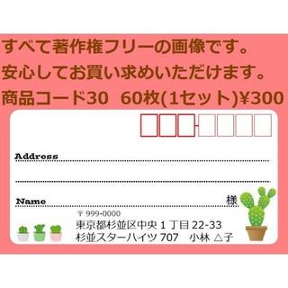 商品コード30 宛名シール 同一柄60枚 差出人印刷無料です(宛名シール)