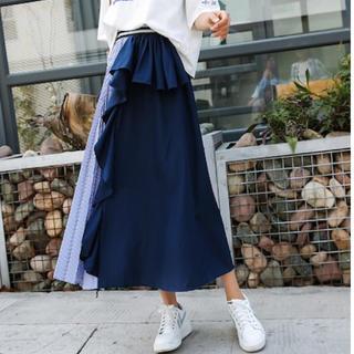 ZARA - 韓国 ファッション  切替ストライプスカート プリーツ フリル