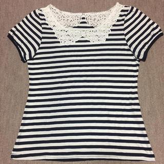 アンレクレ(en recre)のレース襟風 ボーダーTシャツ(Tシャツ(半袖/袖なし))