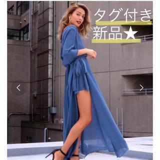 タグ付き新品♡ロングワンピース オールインワン シフォン素材 ブルー系 スリット