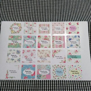 サンキューシール スクエア角丸 Rose 40種類40枚 品番⑳-b(宛名シール)