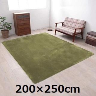 ★即日発送★ さらフワ触感 シャギーラグ 200×250cm 緑 他カラー有(ラグ)