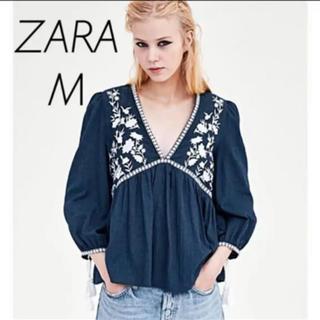 ZARA - 【新品・未使用】ZARA 刺繍入りトップス Mサイズ