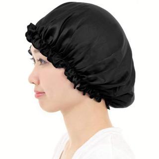 【新品】ナイトキャップ ヘアキャップ シルク100% ロングヘア用 保湿ブラック(ヘアケア)
