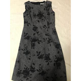 カルヴェン(CARVEN)の美品 カルヴェン ワンピース ドレス グレー×黒(ミディアムドレス)