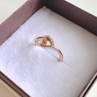 エテ(ete)のk18 ダイヤモンド パヴェ 0.05ct ハートリング ピンクゴールド(リング(指輪))