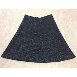 デミルクスビームス(Demi-Luxe BEAMS)の金ラメ ツイード フレアースカート 紺(ひざ丈スカート)