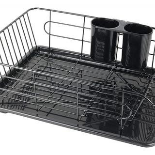 食器 水切りかご 水が流れる トレー付 ヨコ置き タイプ376(その他)