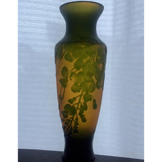 アールヌーヴォー美術 作品名:「藤紋花器」フランス ガラス(ガラス)