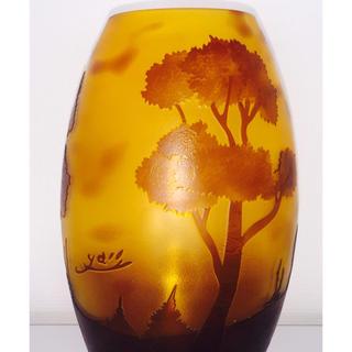 アールヌーヴォー美術 作品名:「湖水風景紋花器」フランス ガラス 共箱入り(ガラス)