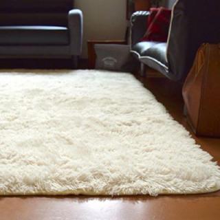 ふわさら♪ 洗える 三畳 ホワイト アイボリー ラグ ラグマット シャギー(ラグ)
