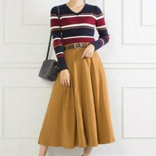 スプレイ(SpRay)のSpRay スプレイ ベルト付き エステル スウェード ミディ スカート(ひざ丈スカート)