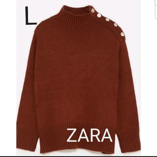 ZARA - 新品 ZARA ボタンつき ハイネックセーター Lサイズ レッド