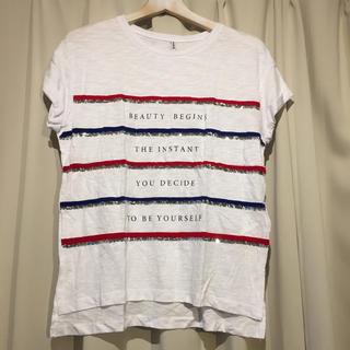 ザラ(ZARA)のストラディバリウス スパンコールボーダーTシャツ(Tシャツ(半袖/袖なし))