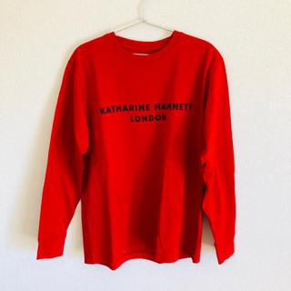 キャサリンハムネット(KATHARINE HAMNETT)のキャサリンハムネット シルキースウェットロングTシャツ 赤(Tシャツ/カットソー(七分/長袖))