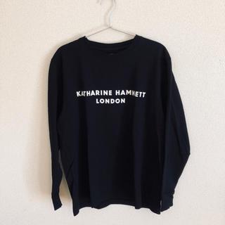 キャサリンハムネット(KATHARINE HAMNETT)のキャサリンハムネット シルキースウェットロングTシャツ ブラック(Tシャツ/カットソー(七分/長袖))