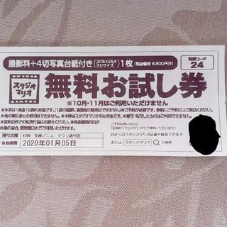 キタムラ(Kitamura)のスタジオマリオ 撮影料+四切写真台紙付き1枚 無料お試し券(8800円相当)(その他)