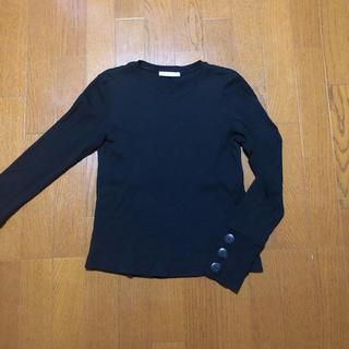 ザラ(ZARA)のZARA ボタン付き リブカットソー 黒(カットソー(長袖/七分))