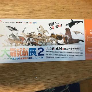 大哺乳類展2招待券(期限付き)(美術館/博物館)