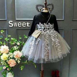新作新品☆120-130cm 豪華長袖刺繍レースベビードレス ワンピース♡グレー