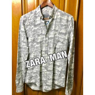 ザラ(ZARA)の☆ ZARA  MAN カモフラージュ柄シャツ 迷彩柄シャツ カモフラ グレー系(シャツ)