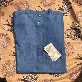 (SALE) Sサイズ 比翼 スタンドカラーシャツ