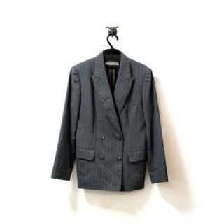 ソワール(SOIR)の東京ソワール ジャケット ダブル ストライプ グレー M(テーラードジャケット)