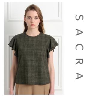 サクラ(SACRA)のSACRA フリルグレンチェックシャツ(カットソー(半袖/袖なし))