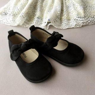 14cm 女の子 黒いリボンのベルトシューズ フォーマル ポプキンズ(フォーマルシューズ)