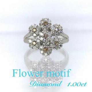 新品【1カラット】ダイヤモンド フラワー モチーフ ホワイトゴールド製 リング(リング(指輪))