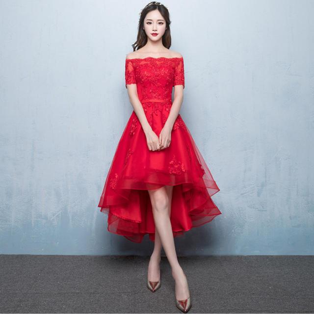 693781496f055 赤 レデイース パーティー ドレス 結婚式 ワンピース 二次会 着痩せ レディースのフォーマル ドレス(ミディアム