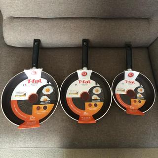 ティファール(T-fal)の【新品】ティファール フライパン 3枚セット 27cm&25cm&21cm(鍋/フライパン)