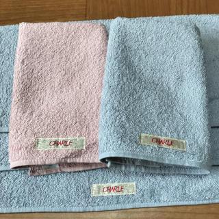 シャルレ(シャルレ)のシャルレ ウォッシュタオル ハンドタオル 5枚 水色ピンク  (タオル/バス用品)