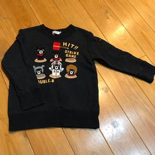 ダブルビー(DOUBLE.B)のダブルB黒色トレーナー100(Tシャツ/カットソー)