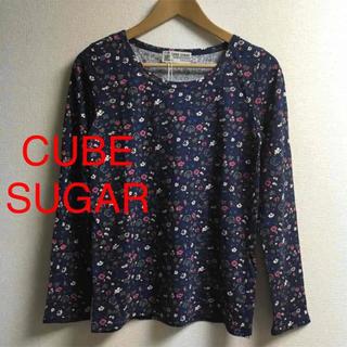 キューブシュガー(CUBE SUGAR)の新品 CUBE SUGAR キューブシュガー 花柄 ロンT 長袖 Tシャツ M(Tシャツ(長袖/七分))