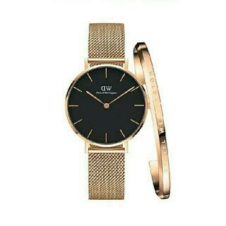 ダニエルウェリントン(Daniel Wellington)の再出品【28mm】ダニエルウェリントン腕時計 ローズゴールド+ バングル セット(腕時計)