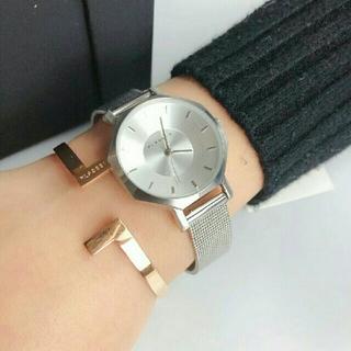 ダニエルウェリントン(Daniel Wellington)の即日発送可能【シルバー28mm】メッシュKlasse14腕時計とバングル セット(腕時計)