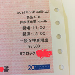 モーニングムスメ(モーニング娘。)の【natsuki様専用】ひなフェス 3/30 昼 女性専用席 ハロプロ チケット(アイドルグッズ)