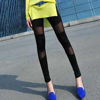 ZARA - レギンス シースルー パンツ 脚長 着痩せ 美脚 ストレッチ素材 ウエストゴム