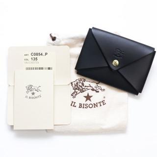 イルビゾンテ(IL BISONTE)の新品 正規品 イルビゾンテ カードケース オリガミ ブラック 名刺入れ ケース(名刺入れ/定期入れ)