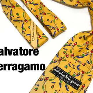 サルヴァトーレフェラガモ(Salvatore Ferragamo)の【廃盤】フェラガモ シルクネクタイ 剣幅9.5 総柄 アート柄 マリンスポーツ(ネクタイ)