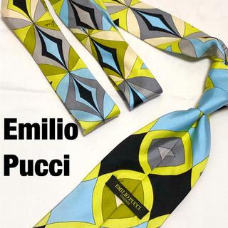 エミリオプッチ(EMILIO PUCCI)の【廃盤】Emilio Pucci シルクネクタイ 剣幅9.5 プッチ柄 幾何学 (ネクタイ)