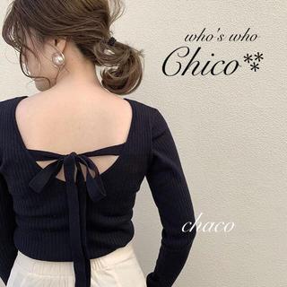 who's who Chico - 新作♡¥5292【Chico】backリボンプルオーバー ネイビー