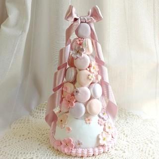 ここね様専用 サクラ咲くマカロンタワー&ピンクカップケーキセット(インテリア雑貨)