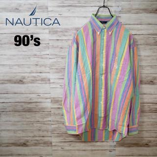 ノーティカ(NAUTICA)の日本製 90's Nautica マルチカラー ストライプBDシャツ ロゴ刺繍(シャツ)