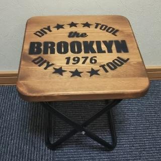 天然木 折りたたみ式ミニテーブルチェア(ブルックリンスタイル風)(折たたみテーブル)