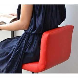 レッド/カウンターチェア/椅子/高さ調整可能/ハイチェア/カフェ/レザー(ダイニングチェア)