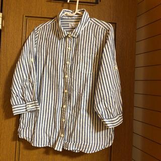 シマムラ(しまむら)のデニムブルー、ホワイトストライプシャツ(シャツ/ブラウス(長袖/七分))
