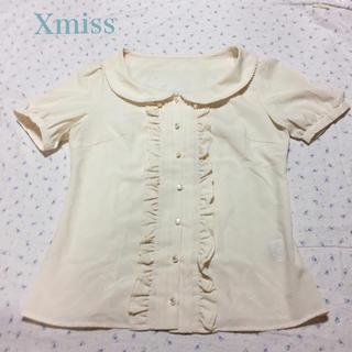 キスミス(Xmiss)の美品 キスミス 丸襟 フリルブラウス パフスリーブ 日本製(シャツ/ブラウス(半袖/袖なし))