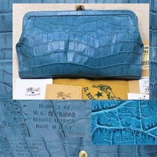 イルビゾンテ(IL BISONTE)の新品☆イルビゾンテ がま口長財布 クロコ型押し牛革 インクブルー 未使用 正規品(財布)